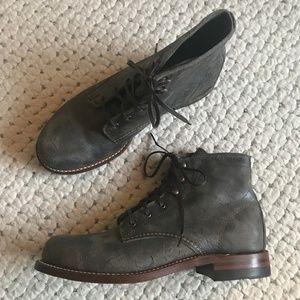 Free People METALLIC Leather 1000 Mile Boots 8 NIB